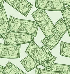 doodle money pattern seamless vector image