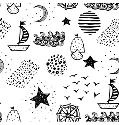 Hand drawn nautical seamless background vector image