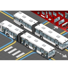 Isometric Long Bus in Front View with open doors vector image