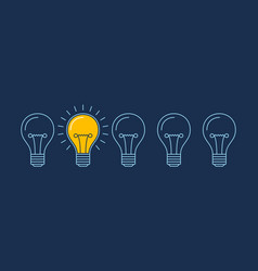 One lit bulb among unlit bulbs new idea business vector