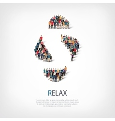relax people sign 3d vector image vector image