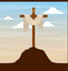 Sacred cross in hill sky catholic religion design vector