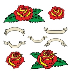Set of the old school style roses with leaves vector image vector image