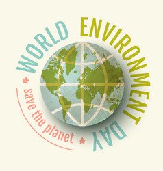 vintage poster for world environment day world vector image vector image