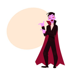 young man dressed as dracula vampire halloween vector image vector image