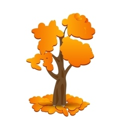 A stylized drawing of a yellow autumn oak Fallen vector image