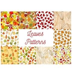 Autumn fallen leaves seamless patterns set vector image vector image
