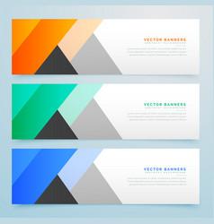 Elegant geometric colorful banners set vector