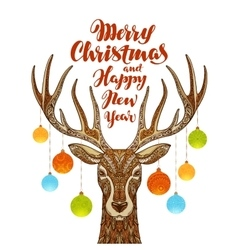 Merry Christmas and Happy New Year Reindeer with vector image vector image