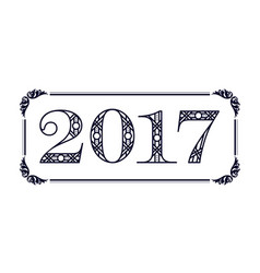 number 2017 label vector image