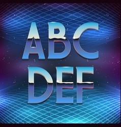 Thin Chrome Alphabet in 80s Retro Futurism style vector image