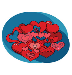 valentine day hearts design set vector image