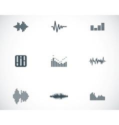 Black music soundwave icons set vector