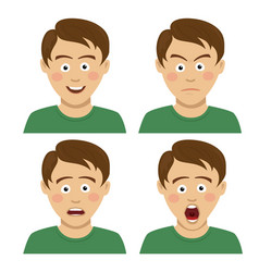 handsome teenager boy having various expressions vector image vector image