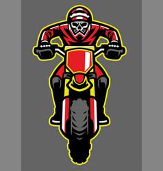 mascot of skull riding motocross vector image