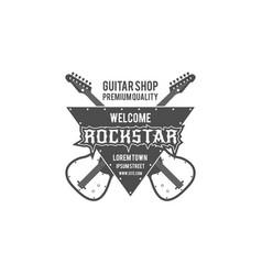 rock star guitar shop label badge emblem vector image vector image