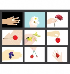 set of human hands silhouettes vector image vector image