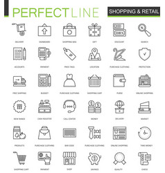 shopping and retail thin line web icons set vector image