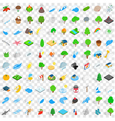 100 nature and landscape icons set vector image