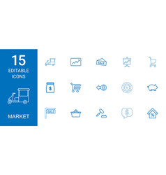15 market icons vector image