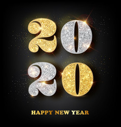 2020 happy new year greeting card with gold and vector image