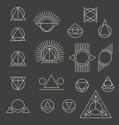 Abstract geometric tattoo set on grey background vector