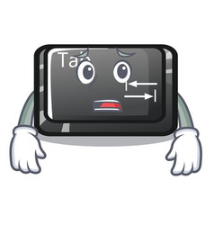 Afraid tab button attached to cartoon keyboard vector