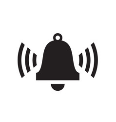 Alarm clock bell - black icon on white background vector