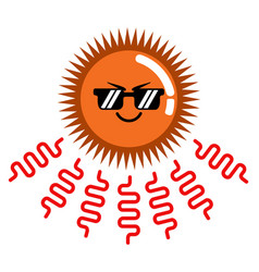 Angry cute sun weather icon vector
