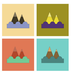 Assembly flat icons tsunami mountains vector