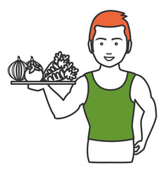 Athletic man with vegetables tray character icon vector