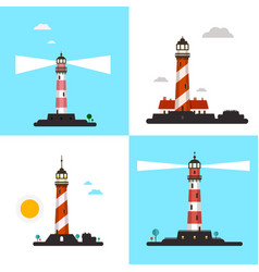 beacon icons - lighthouse symbols set vector image