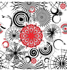 Black and white circles seamless grunge background vector image
