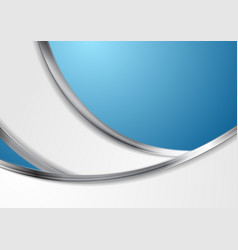 Blue abstract background with metallic silver vector
