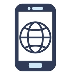 Blue cellphone with globe diagram vector