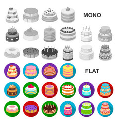cake and dessert flat icons in set collection for vector image