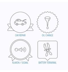 Car repair oil change and signal icons vector