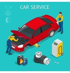 Car service center car service work process vector