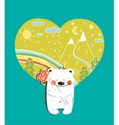 Cartoon Baby Bear with Nature Heart Background and vector