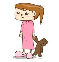 Cartoon girl in nightgown vector image