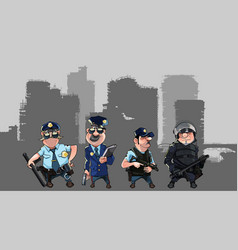 Cartoon men in police uniforms vector