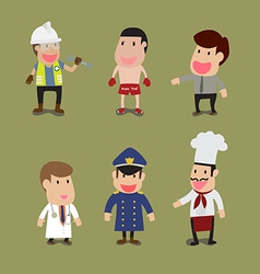 Cartoon of group of people in different occupation vector