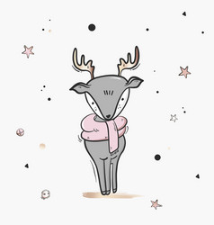 childish deer cute cartoon sketch nursery print vector image