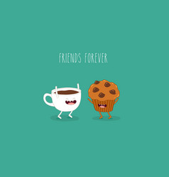 Coffee and mafin friends vector
