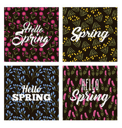 collection of hello spring flowers decoration and vector image