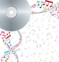 Colorful notes floating from cd dvd vector