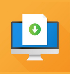Computer and download file icon document vector