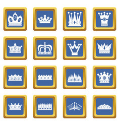 Crown icons set blue vector