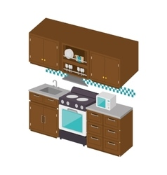 Cute full kitchen icon vector