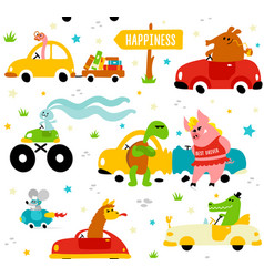 cute funny animals llama crocodile bookworm vector image